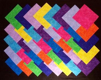 "BRIGHT BLENDERS 4"" Squares, 100% cotton Prewashed, Quilt Block Fabric Squares (#A/18A)"