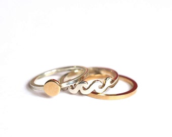 Sun, Sea and Sand, Silver and Gold Stacking Rings, Handmade by RockCakes, Brighton UK