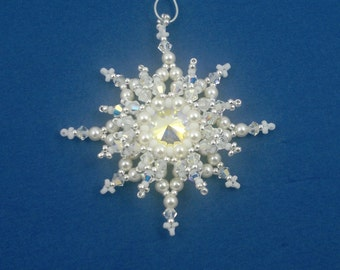 Beading4perfectionists : Christmas tree ornamen 5 by 5 cm / 1.96 x 1.96 inches beading pattern tutorial PDF file