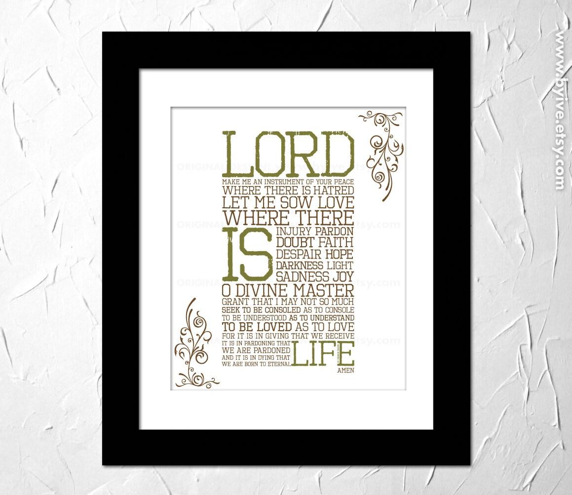 St Francis Prayer impreso de oración inspiradora oración de