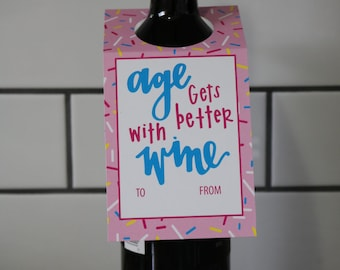 Wine Gift Tag   Birthday   Age Gets Better With Wine