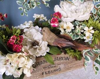 Floral Arrangement / Rustic Wood Box / Burlap Bird /  Shabby Chic / Cottage Chic