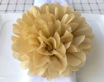12x 5inch/13cm Mocha Napkin Ring Tissue Paper Pom Pom Wedding Table Centerpiece Decoration Garlands Gift Box Decoration