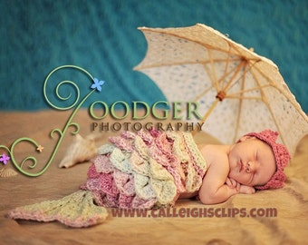 Mermaid Princess Crocodile Stitch - Cuddle Critter Cape Set  - Newborn Prop