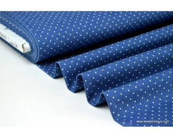 Denim fabric printed .x1m white dots