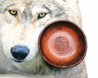 Celtic knot leather bowl. Home accessory. Key bowl. Custom home accents. Jewelry bowl. Unique gift. Custom valet tray.