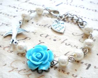 Gift For Flower Girl Blue Rose Bracelet Flower Girl Bracelet Bird Charm Bracelet Ivory Pearl Jewelry Little Girl Bracelet Blue Kid Bracelet