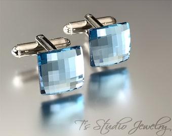 Aqua Ocean Blue Swarovski Crystal Square Chessboard Cufflinks -  Soft Powder Blue