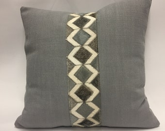 Diamond Hide Band Decorative Pillow Cover in Grey and Slate Blue
