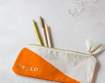 Orange + Cream HELLO Accessory Pouch w/ Tassels + Gold Details