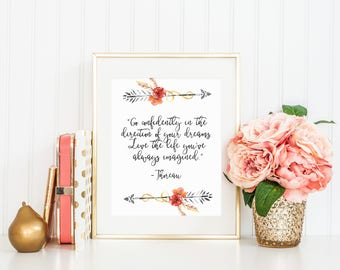 Go confidently in the direction of your dreams Live the life you've always imagined Thoreau Arrows Tribal Boho Flowers Print Printable quote