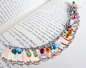 Custom Charm Bracelet Stamped with Name, Date, Birthstone - Personalized with Twenty, 20 Charms, Swarovski Crystal Birth Stone