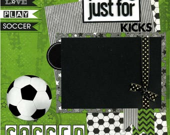 12x12 Premade Soccer Scrapbook Page - Just for Kicks