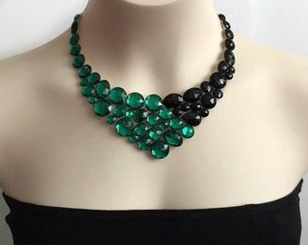 tulle necklace - emeralde and black bib collar tulle necklace