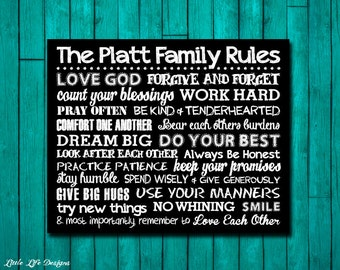 Family Rules Sign. Family Rules Wall Art. House Rules. Family Home Sign Decor. In this house. Christian Wall Art. Personalized Family Gift.