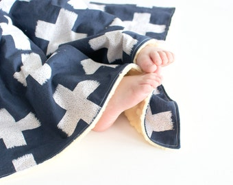 Unisex Baby Blanket - Plus Sign Blanket, Crossed Impressions with Yellow Minky Lovie, Security Blanket with Minky for Baby Boy Baby Girl