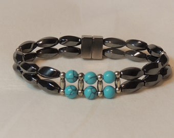 Turquoise, Silver and Magnetic Hematite Twists Double Bracelet