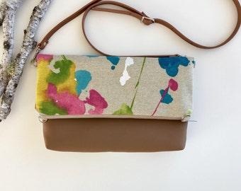 Floral & Vegan Fold Over Bag  // Crossbody Purse // Fold Over Purse // Crossbody Bag // Shoulder Bag // Vegan // Purse