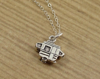 Pop Up Camper Necklace, Sterling Silver Pop Up Camper Charm on a Silver Cable Chain