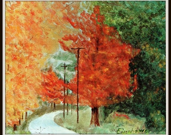 Landscape Fall  painted by Eisenhower Pl 14. Dwight Eisenhower President, D Eisenhower artist, General Eisenhower,