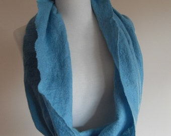 Cowl Scarf circle scarf Infinity Scarf aqua Felted holiday celebration gift for her under 40 warm super soft winter scarf