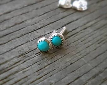 Turquoise Stud Earrings, Kingman Turquoise Earrings, Sterling Silver Studs, Natural Turquoise, Genuine Turquoise, Post Earrings