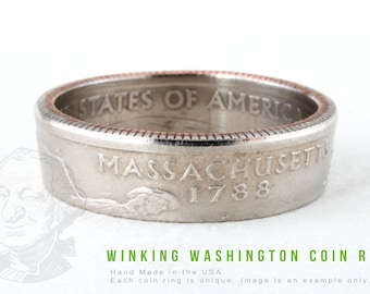 COIN RING - Massachusetts State - Handmade in the USA - All Sizes Available