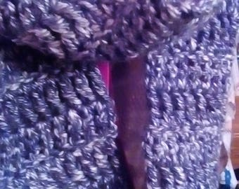 Charcoal infinity scarf, 25 inches long, 6 inches wide, hand made, crochet