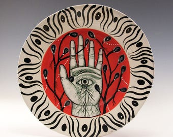 Dessert Plate - Painting by Jenny Mendes on a round ceramic dessert plate - Eye in Hand