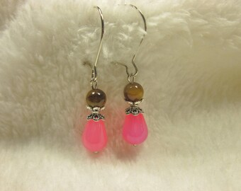 agate and Tiger eye and metal (O57) beads earrings
