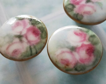 Vintage buttons -3 matching Cottage Chic Porcelain pink rose hand painted flower with gold rim, stud back buttons 7/8 inch(mar 288 18 )