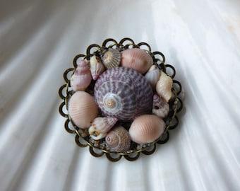 Irish sea shell brooch, vintage style sea shell brooch, mosaic shell brooch