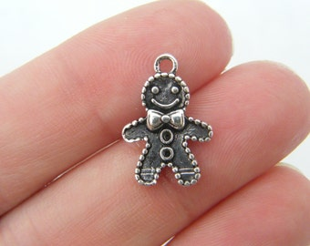 10 Gingerbread man charms antique silver tone CT81