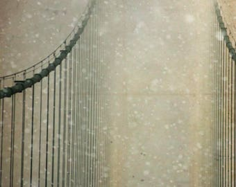 Mackinac Bridge Michigan snow winter art photography office decor home decor