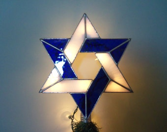 Lighted Jewish Star Tree Topper with Light Clips, Stained Glass Jewish Star of David, Custom Tree Toppers, Six Point Star