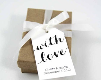 With Love Tag - Wedding Favor Tags - Custom Tags - Bridal Shower Tags - Personalized Tags - Party Favor Tags - Thank You Tags - MEDIUM