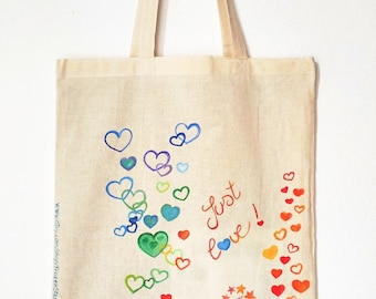 Canvas tote bag , shopping bag , handpainted tote , eco bag