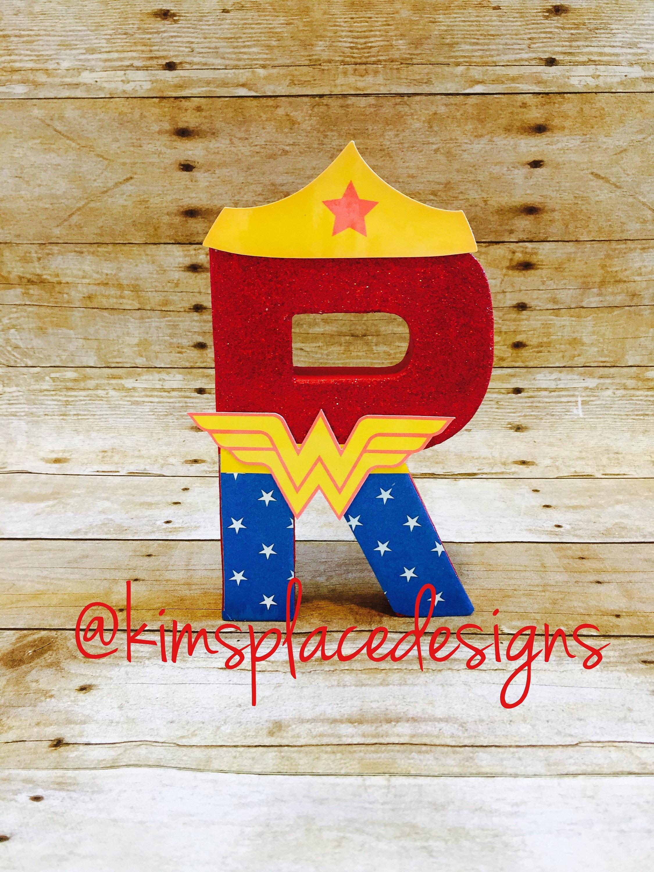 Wonder Woman Letters Custom Decor Letters Superhero Party