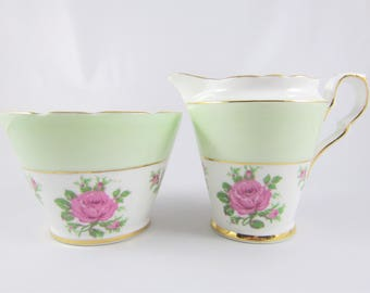 Vintage Gladstone Mint Green and Pink Roses Bone China Cream and Sugar Set. Made in England