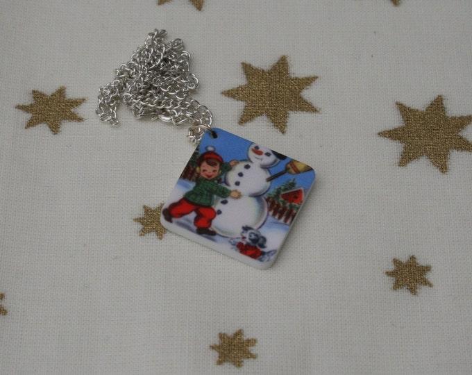 Snowman Necklace, Snowman Illustration Necklace