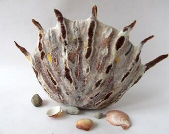 Felted handbag Shell Unique sea creature bag Women Original  bag Crossbody bag felt purse Grey brown felted  handbag Galafilc outdoors gift
