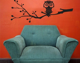 Owl On Branch Vinyl Wall Graphic