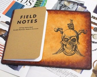Field Notes Leather Cover - Skull & Bones - Customizable - Free Personalization