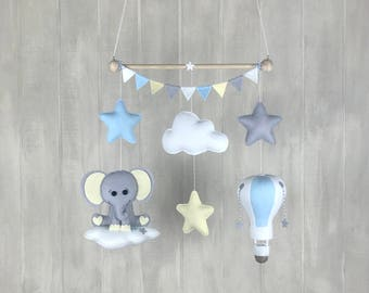Baby mobile - elephant mobile - hot air balloon mobile - star mobile - cloud mobile - star mobile - travel mobile - nursery mobile
