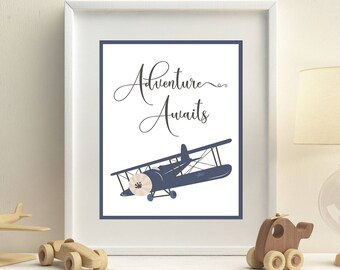 Vintage airplane print, Airplane nursery decor, Adventure awaits, Blue, Personalized, Baby shower gift idea, Wall art, gift for grandson