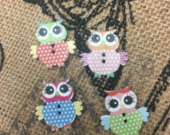 Owl Buttons wooden set of four