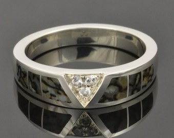 Gray Dinosaur Bone Ring With White Sapphire Accents in Sterling Silver by Hileman Silver Jewelry