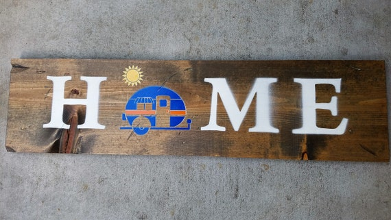 """Handmade Wall Art - """"HOME"""" Sign with Camper in Blue & Orange"""