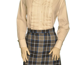 Extra Small / 2 Plaid Gray, Blue and White Short Vintage Skirt