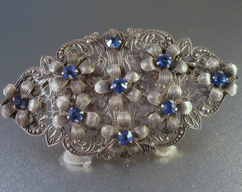 Victorian Sash Pin Brooch, Sapphire Blue Rhinestone, Art Nouveau Flowers